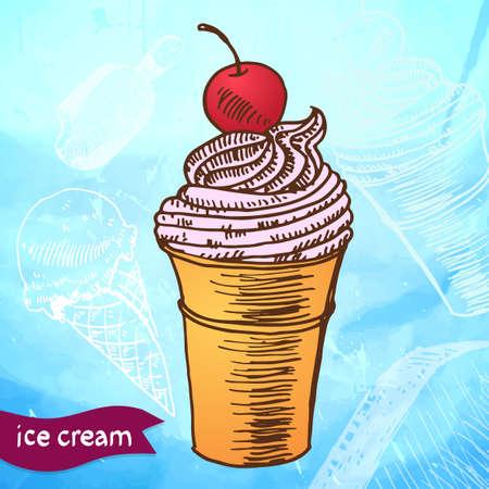 Doodle ice cream frozen dessert style sketch in vector format