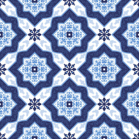 Illustration pour Portuguese azulejo tiles. Blue and white gorgeous seamless patterns. For scrapbooking, wallpaper, cases for smartphones, web background, print, surface textures. - image libre de droit