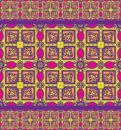 Bright traditional Talavera ornament. Mexican seamless pattern simulates colorful glazed ceramic tiles. For fabrics, prints, t-shirts, bags, wrapping paper.