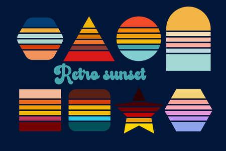 Illustration pour Retro sunset. Vintage sun collection in the style of the 70s. - image libre de droit