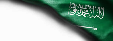 Fabric texture flag of Saudi Arabia on white background