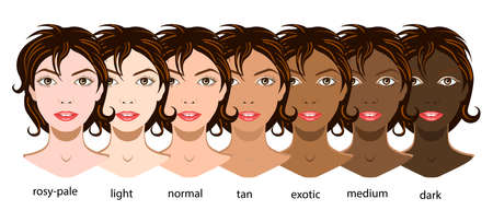 Illustration pour A vector set of six types of skin from pale to exotic isolated - image libre de droit