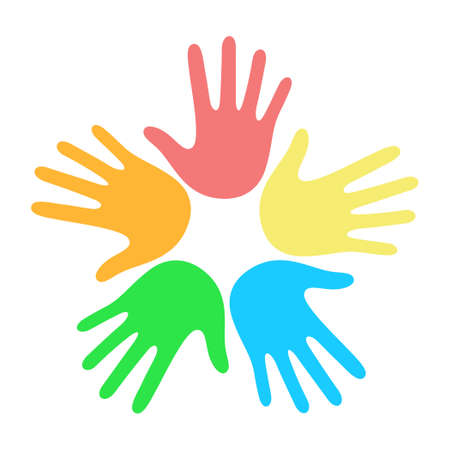 Illustration for Many multi-colored hands on a white background illustration - Royalty Free Image