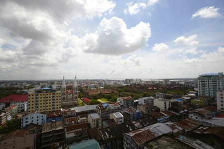 Panoramic View of Yangon Yangon, Myanmar.