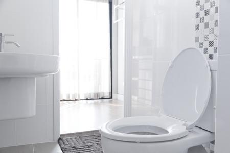 Foto de White toilet bowl in the bathroom. - Imagen libre de derechos