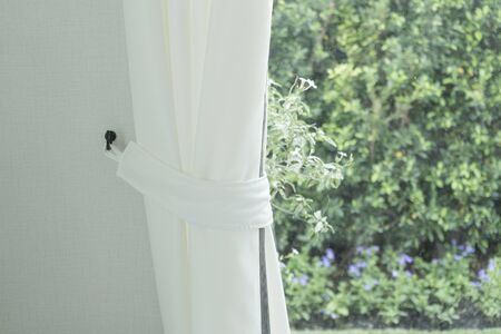 Photo pour Close up of white modern curtain detail of Holder, interior detail. - image libre de droit