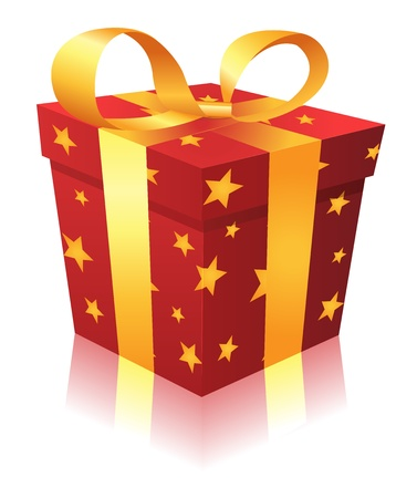 Illustration of a cartoon gift box for birthdays, christmas holidays