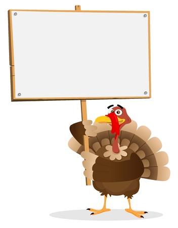 Illustration of a turkey holding menu for thanksgiving holidays