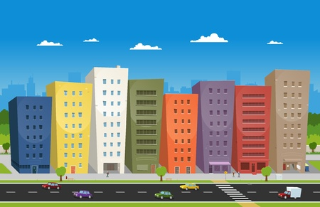Illustration of a cartoon downtown scene with buildings, cars and some  characters on the pavement