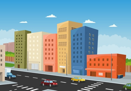 Illustration of a cartoon city downtown, with office buildings and cars  driving