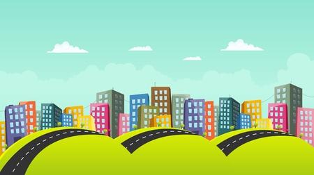 Illustration of a cartoon city horizontal road