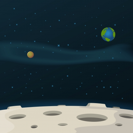 Illustration of a cartoon moon surface with galaxy, milky way and planets behind