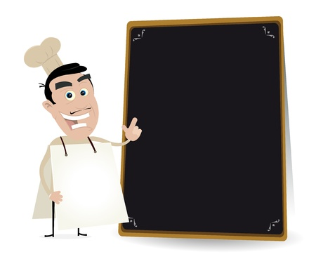 Illustration of a chef cook sandwichman showing the restaurant menu on a blackboard