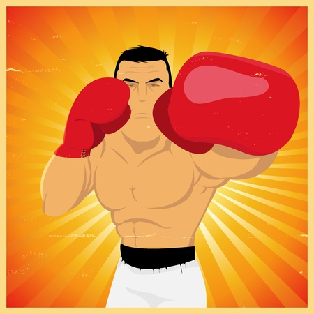 Illustration of a grunge boxing man, doing left jab technical gesture