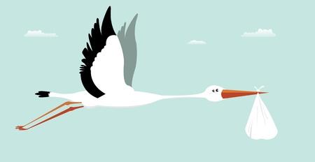 Illustration for Illustration of a stork delivering bag for boy birth - Royalty Free Image