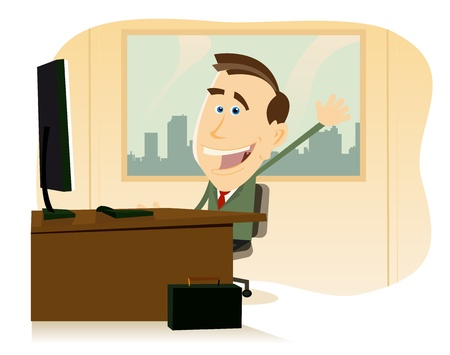 Illustration of a happy cartoon businessman at his office, back to work