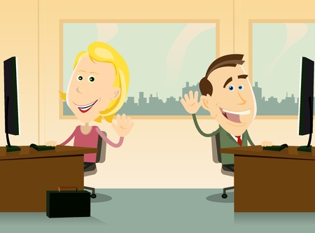 Illustration of two workers, male and female, happy back to work at the office