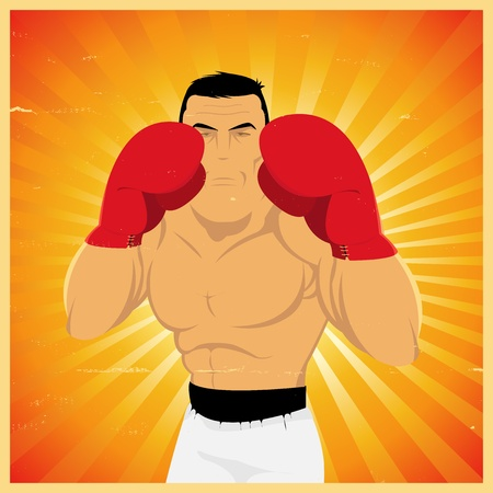 Illustration of a grunge boxer ready to do left jab