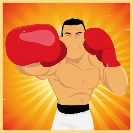Illustration of a grunge vintage cartoon boxer making a right jab counterpunch for championship or competition poster