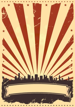 Illustration for Illustration of a vintage poster background for celebration of fourth of july, american holidays or independence day. - Royalty Free Image
