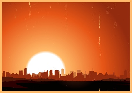 Illustration of a summer urban landscape in the heat and sunrise