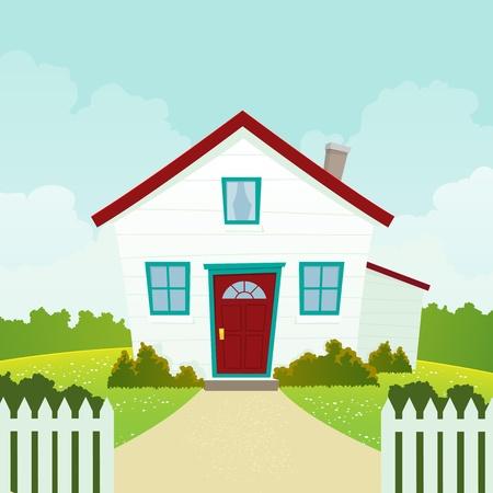 Illustration of a cartoon house in spring or summer season