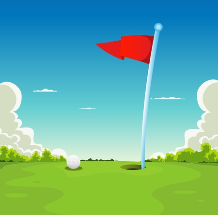 Illustration of a golf sport landscape, with golf ball and flag on putting green grass