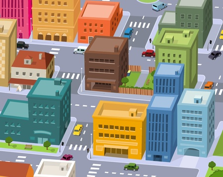 Illustration for Illustration of a cartoon city scene, with aerial view of downtown traffic - Royalty Free Image