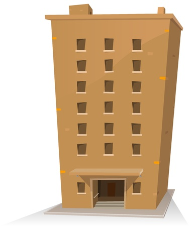 Illustration of a cartoon building tower twenty rooms inside