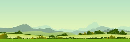 Illustration of a wide summer season country banner or header for your web site