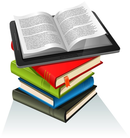 Illustration of a tablet pc e-book set upon a book stack. Imaginary model of e-book not made from a real existing product or copyrighted model