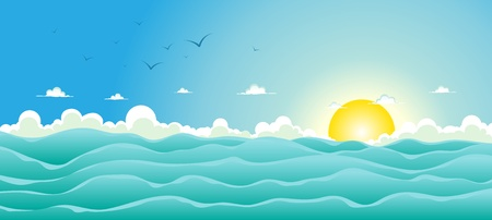 Illustration pour Illustration of a cartoon wide ocean for spring, or summer holiday vacations header,  with seagulls, rough sea, foam and sunlight - image libre de droit