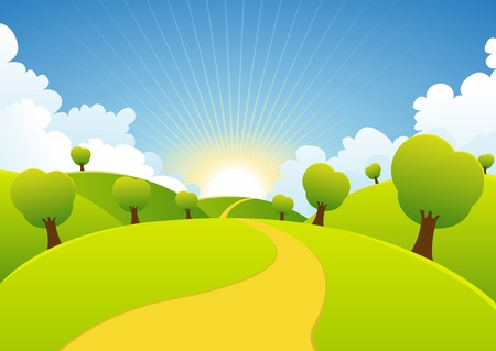 Illustration pour Illustration of a cartoon summer or spring season country landscape - image libre de droit