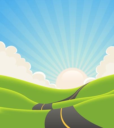 Illustration pour Illustration of a cartoon long road snaking inside green hills in spring or summer landscape - image libre de droit