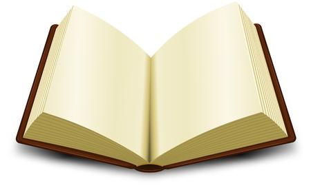 Illustration pour Illustration of a cartoon opened brown book - image libre de droit