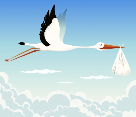 Illustration for Illustration of a stork delivering baby in a bag for birth announcement, newborn holidays celebration and anniversaries - Royalty Free Image