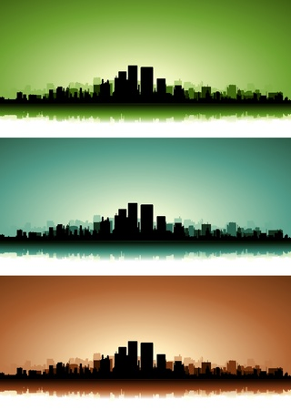 Illustration of a collection of city skyscrapers on the summer sunset or sunrise with green, blue and brown versions