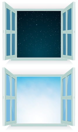 Illustration of a home open window with day and night sky background
