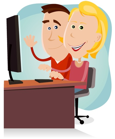 Illustration of a cartoon happy couple of father and mother, surfing on the net or working on a desktop computer