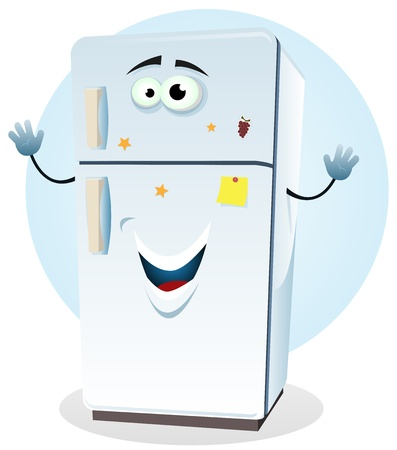 Illustration of a cartoon happy fridge character welcoming
