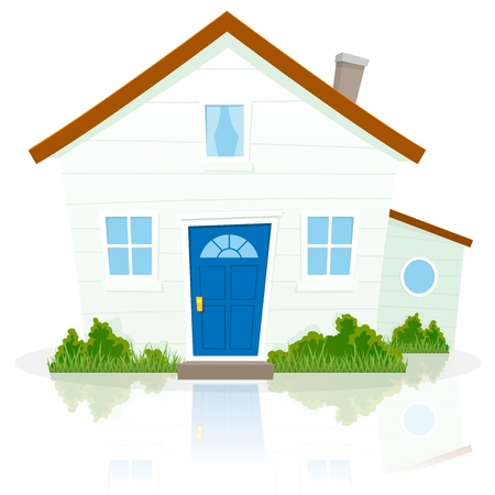 Illustration of a cartoon simple house on white background with reflect on the ground