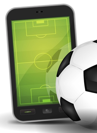 Illustration of a mobile touchscreen phone with a competition stadium inside and near a soccer ball, for online sport background