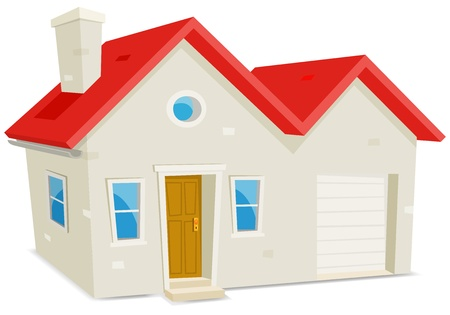 Illustration of a cartoon domestic house exterior with garage on white background
