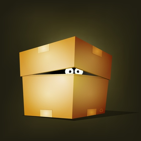 Illustration of a funny cartoon creature or animal's character eyes hiding and looking inside a cardboard box delivery