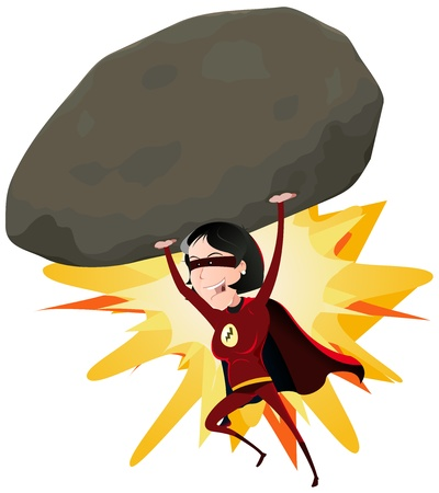 Illustration of a comic red super woman character throwing a big heavy meteorite rock with her arms