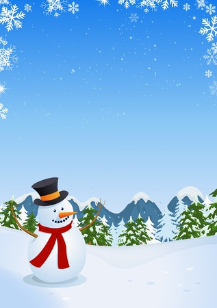 Illustration of a vertical poster with cartoon snowman inside winter landscape made of pine trees, firs, mountains and copy space for your message