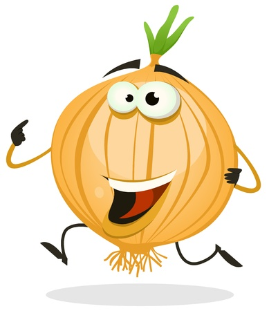 Illustration for Illustration of a funny happy cartoon onion or shallot vegetable character running - Royalty Free Image