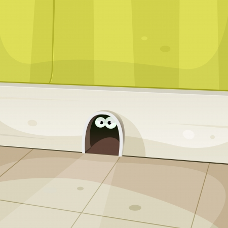 Illustration of a cartoon hole in home walls baseboard with cute mouse or other rodent eyes looking from inside