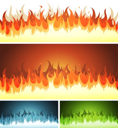 Illustration of a set of cartoon blaze fire elements and flames patterns or shapes burning, for hell, volcano background