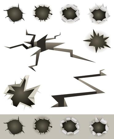Illustration of a set of bullet holes, slashes, earthquake cracks and various gunshot impact hollows